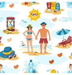 family couple on the beach characters vector image