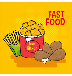 fast food stickers pop art vector image