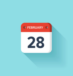 February 28 Isometric Calendar Icon With Shadow vector image