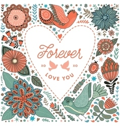 Floral heart frame made of flowers vector