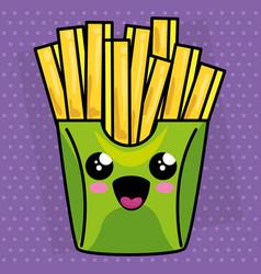 french fries kawaii character vector image