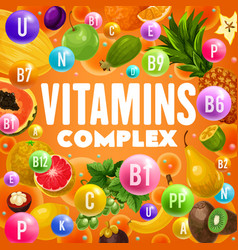 Fruits rich of vitamins and minerals vector