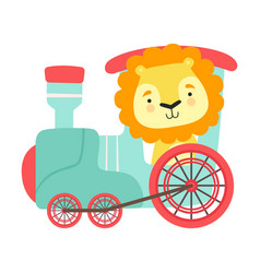 Funny lion with thick mane riding on train vector
