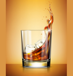 Glass whisky with ice against yellow background vector