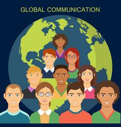 global communication flat design vector image