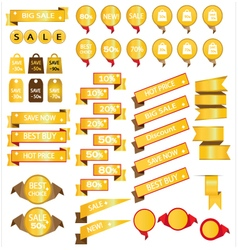 Gold sale bag tag icons and discount symbols vector image