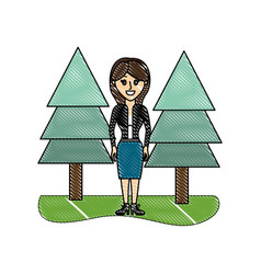 Grated elegant woman with clothes and pine trees vector