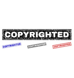 Grunge copyrighted scratched rectangle stamp seals vector