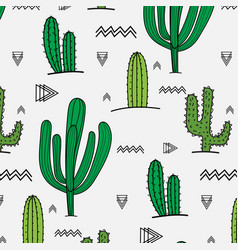 Hand drawn tropical cactus pattern vector