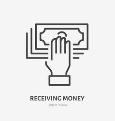 hand holding money flat line icon cash receiving vector image