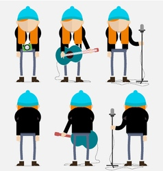 Hippie ginger musician with the blue cap vector image