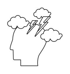 human head brainstorm idea outline vector image