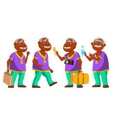 Indian old man set elderly people hindu vector