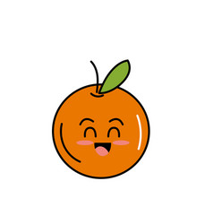 Kawaii cute tender orange fruit vector