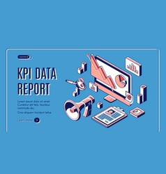 kpi data report isometric landing page banner vector image