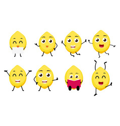 Lemon fruits cartoon character vector