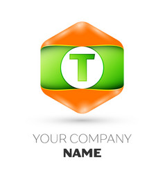 letter t logo in the colorful hexagonal vector image