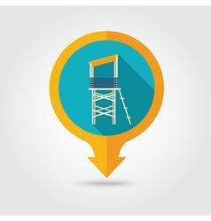 Lifeguard tower pin map icon Summer Vacation vector