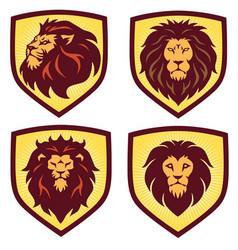lion logo shield set design template icon vector image