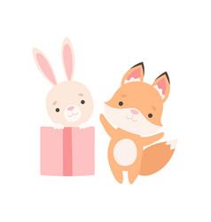 Lovely little bunny sitting inside gift box fox vector