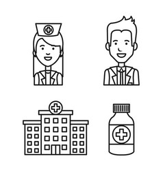 medical staff profession pharmacy and hospital vector image