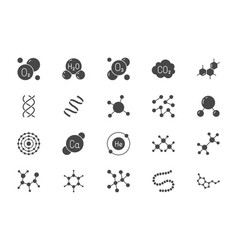 Molecule flat glyph icons vector