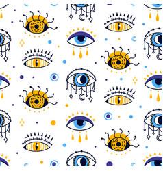 Mystic evil eye seamless pattern esoteric vector