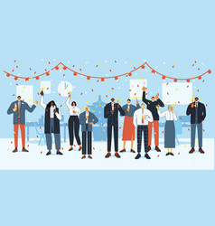 new year office party happy employees celebrate vector image