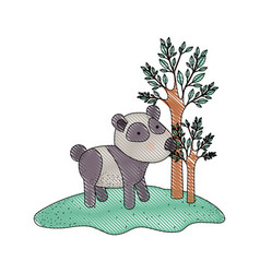 panda cartoon in forest next to the trees in vector image