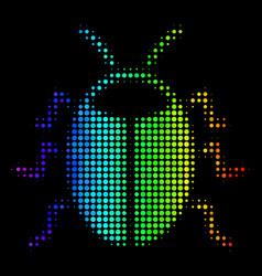 Rainbow colored pixel bug icon vector