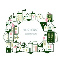 Real estate background with houses - graphic hand vector image