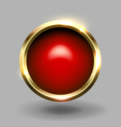 Red shiny circle blank button with gold metallic vector