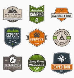 Retro Camp badges vector image