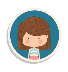 Round frame and girl with striped short hair vector