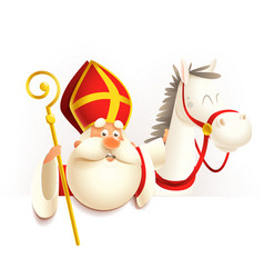 saint nicholas sinterklaas with horse on board vector image
