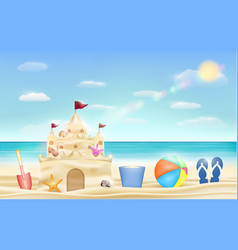 sand castle and shovel bucket and ball on beach vector image