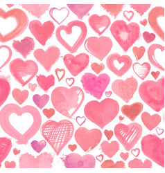 Seamless background of hand drawn stylized hearts vector