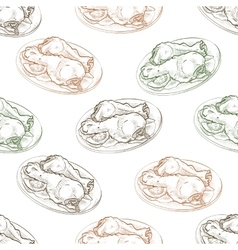 Seamless pattern chicken legs scetch vector
