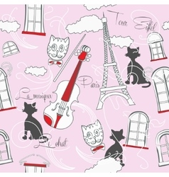 Seamless pattern with Paris and music-01 vector