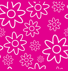 seamless pattern with white flowers on pink vector image