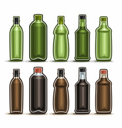 set green and brown glass bottles vector image