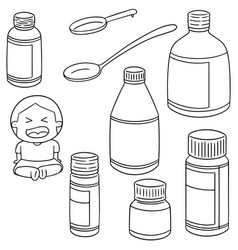 set of liquid medicine vector image