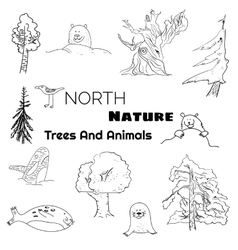 Set of north nature doodle animals and trees vector