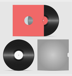 set of vinyl record and envelope for plate vector image