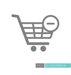 shopping cart icon with minus sign vector image