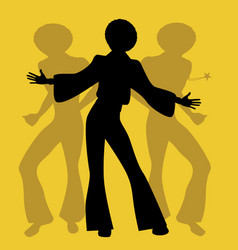Silhouette of men dancing soul funky or disco vector