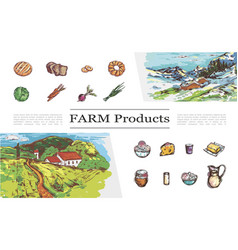 sketch farm products collection vector image