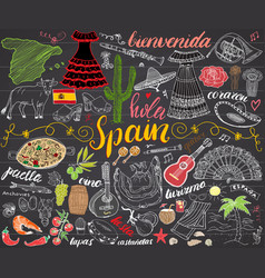 spain hand drawn sketch set chalkboard vector image