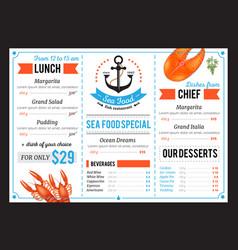 sta food restaurant menu template design vector image