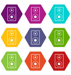 Subwoofer icon set color hexahedron vector